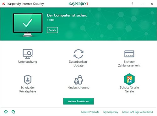 Kaspersky Internet Security 2018 Standard | 1 Gerät | 1 Jahr | Windows/Mac/Android + Mobiler Schutz | Download - 2