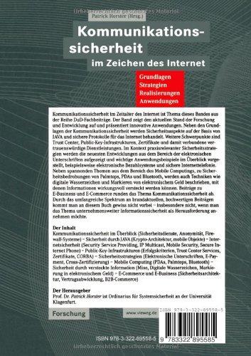 Kommunikationssicherheit im Zeichen des Internet: Grundlagen, Strategien, Realisierungen, Anwendungen (DuD-Fachbeiträge) (German Edition) - 2