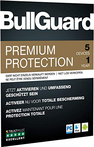 BullGuard Premium Protection 2019 1Y/5 Geräte Retail|Standard/Upgrade/Home/Personal/Professional usw.|5 Gerät|1 Jahr|PC, MAC, Android|Download|Download - 2