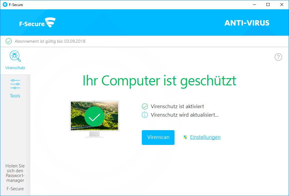 F-Secure Anti-Virus 2019 - 1 Jahr / 1 PC für PC [Online Code] - 2