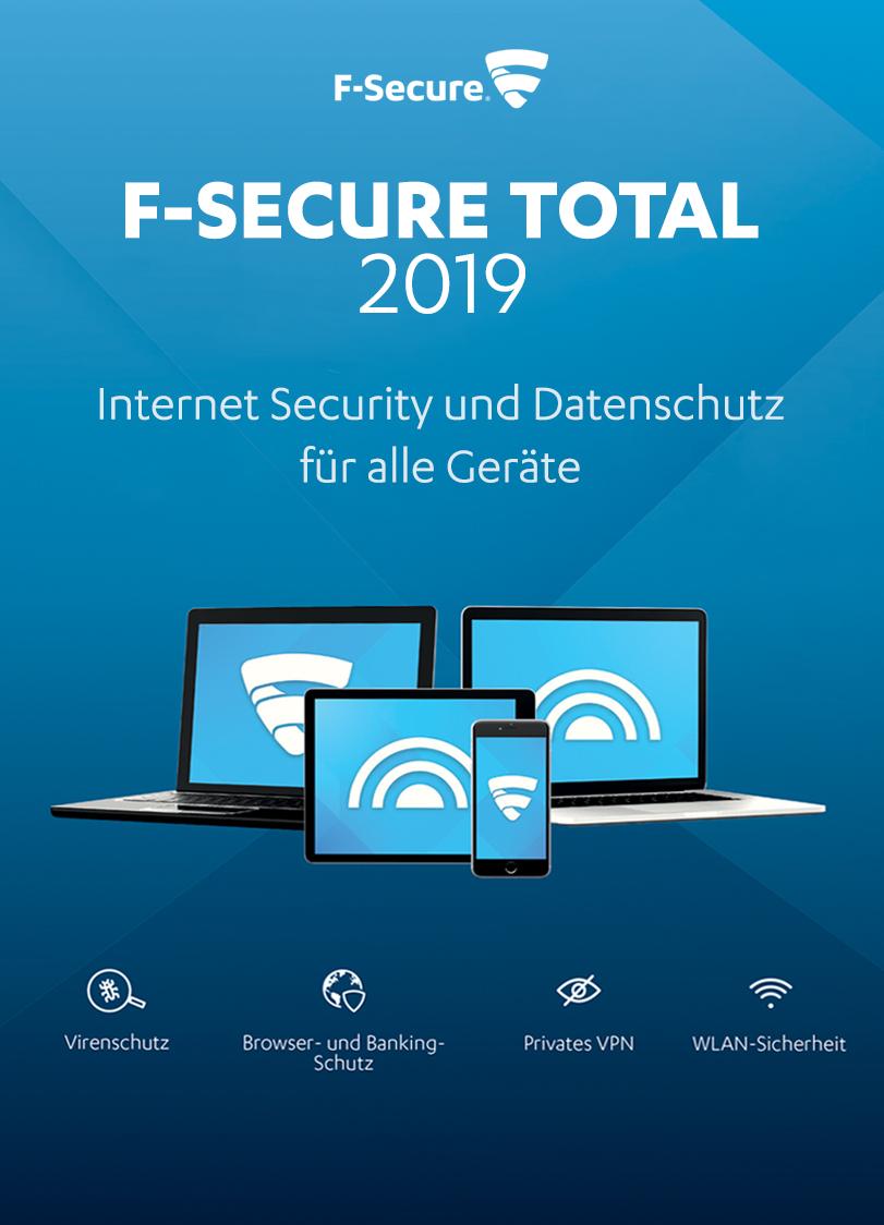 F-Secure TOTAL Security und VPN 2019 - 1 Jahr / 5 Geräte