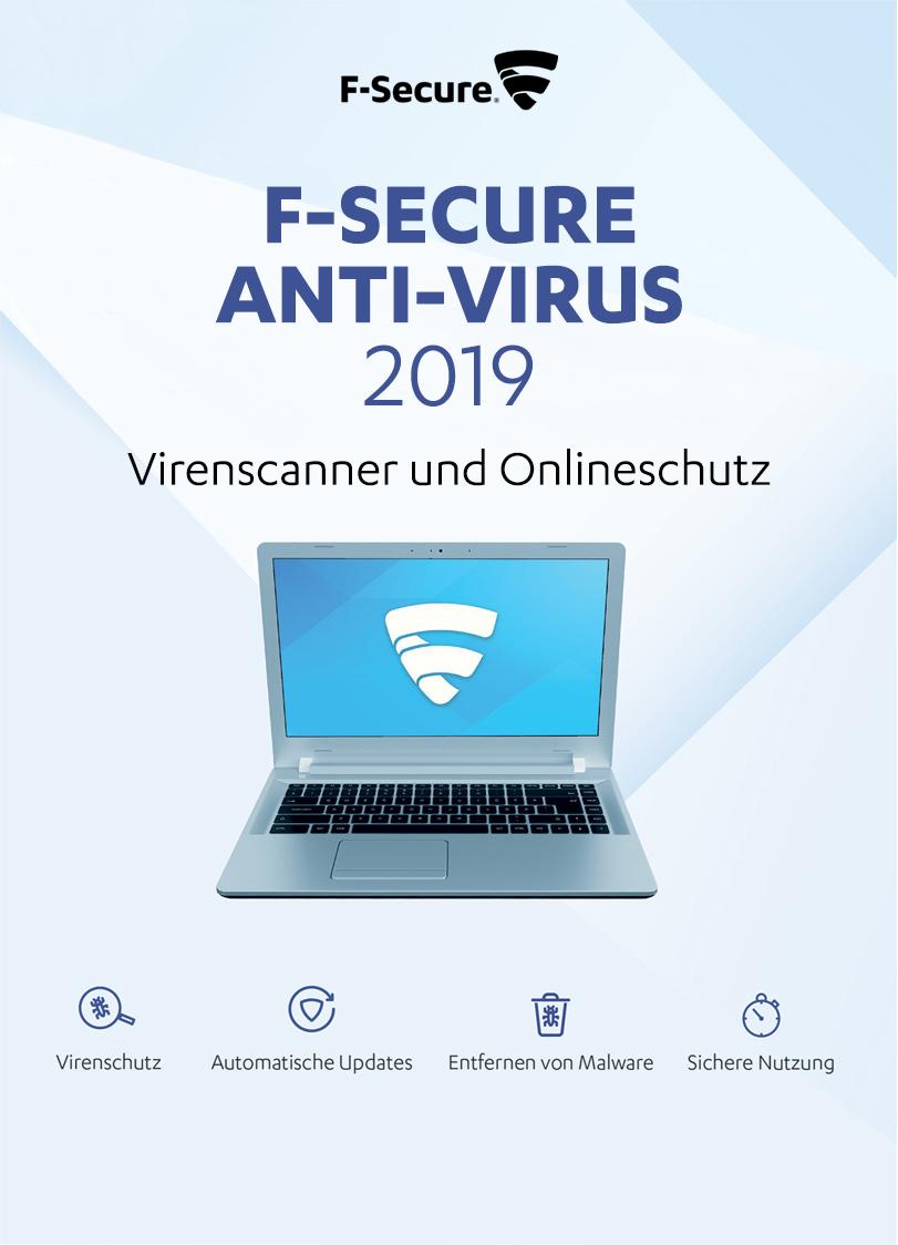 F-Secure Anti-Virus 2019 - 2 Jahre / 5 PCs für PC