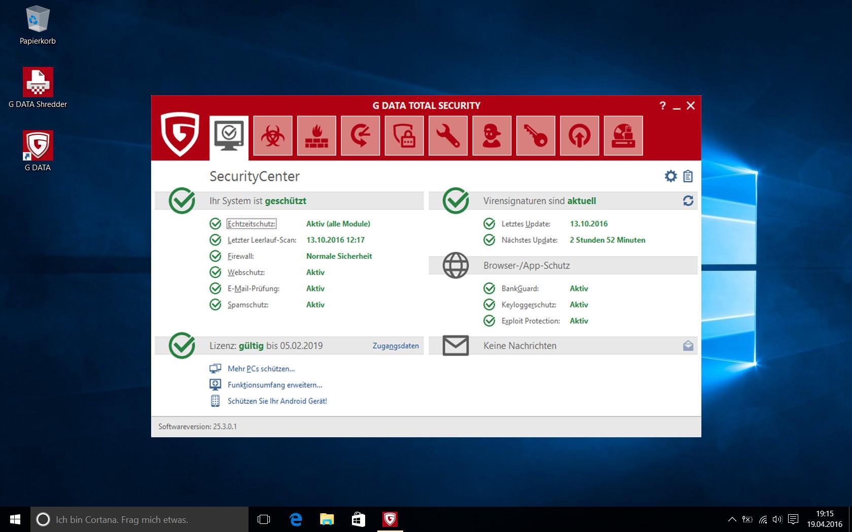G DATA Total Security 2019 für 1 Windows-PC / 1 Jahr / Erstklassiger Rundumschutz durch Firewall & Antivirus / Trust in German Sicherheit[Download] - 7