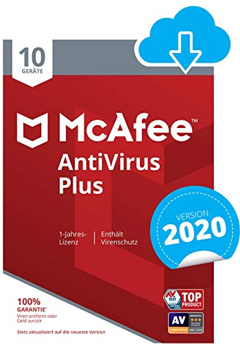 McAfee AntiVirus Plus 2020 | 10 Geräte | 1 Jahr | PC/Mac/Smartphone/Tablet | Download Code