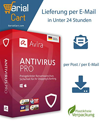 Avira Antivirus Pro 2020 | 5 Geräte - 3 Jahre | von SerialCart [Aktivierungscode per Post/Download]