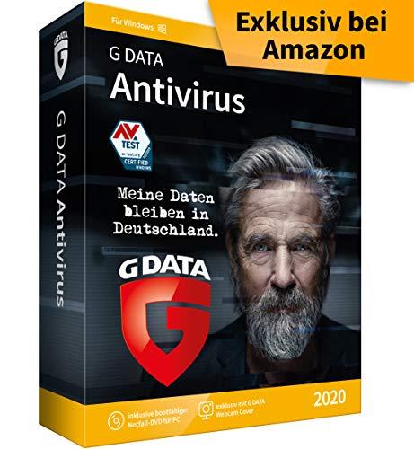 G DATA Antivirus 2020 | 1 PC - 1 Jahr, DVD-ROM inkl. Webcam-Cover | Virenscanner für Windows 10 / 8 / 7 | Made in Germany