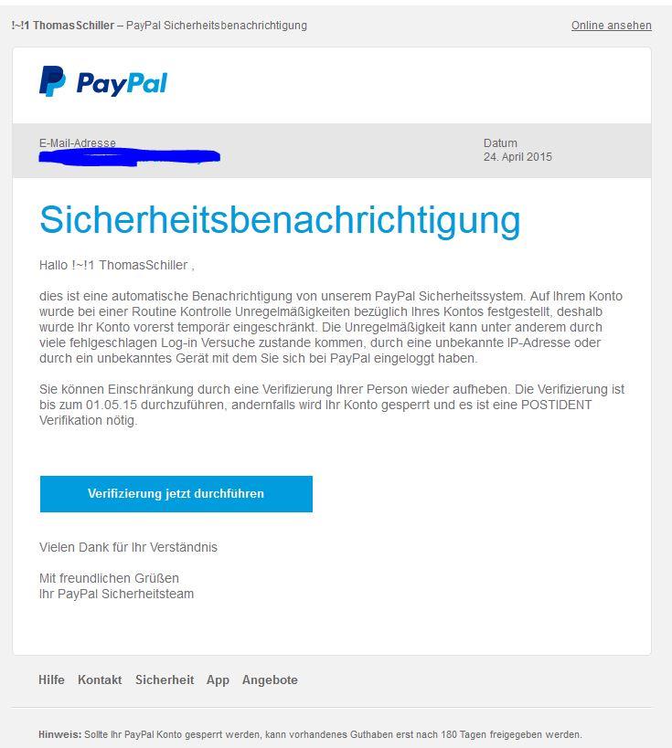 Paypal-Phishing im Sekundentakt